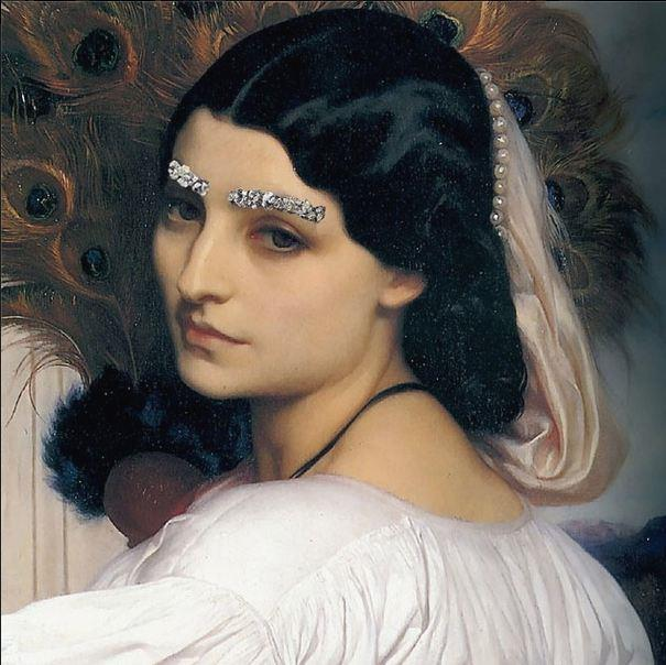 """""""Brow Down"""" <br> Original: Pavonia, Frederic Leighton <br> Added: Chanel jewelled eyebrows from A/W 2012-13 show <br.<br> Instagram: @copylab"""