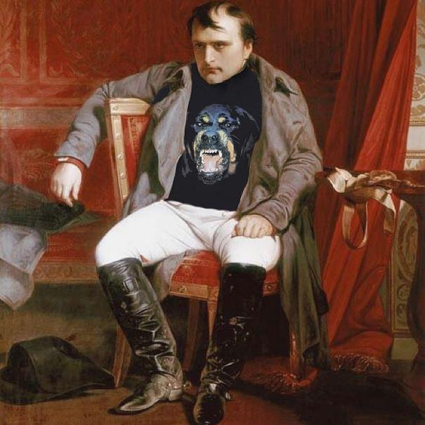 """""""Visibly Upset""""<br> Original: Napoleon Emperor Defeated At Fontainebleau, Paul Hippolyte Delaroche <br> Added: Givenchy Rottweiler Shirt <br><br> Instagram: @copylab"""