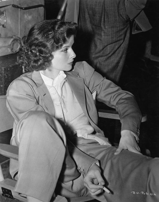 Screen legend Katherine Hepburn has long been astyle  icon due to her  penchant for wearing man-style tuxedos and shirting when everyone else was doing a gown.