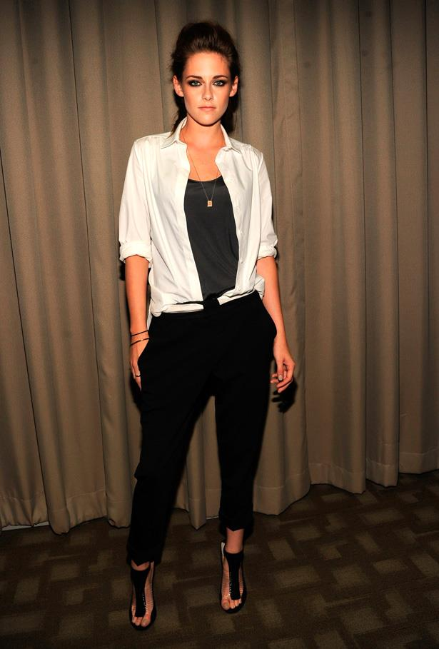 Kristen Stewart is infamous for wearing her Converse Chuck Taylors on the red carpet, however, when she does dress up (in heels) she still manages to incorporate her effortless, boyish style into her look.