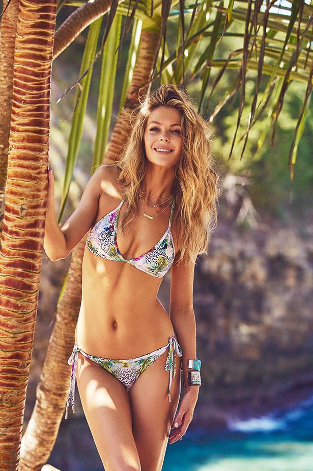Jennifer Hawkins wearing a triangle bikini from her spring/summer 14-15 Cozi collection.