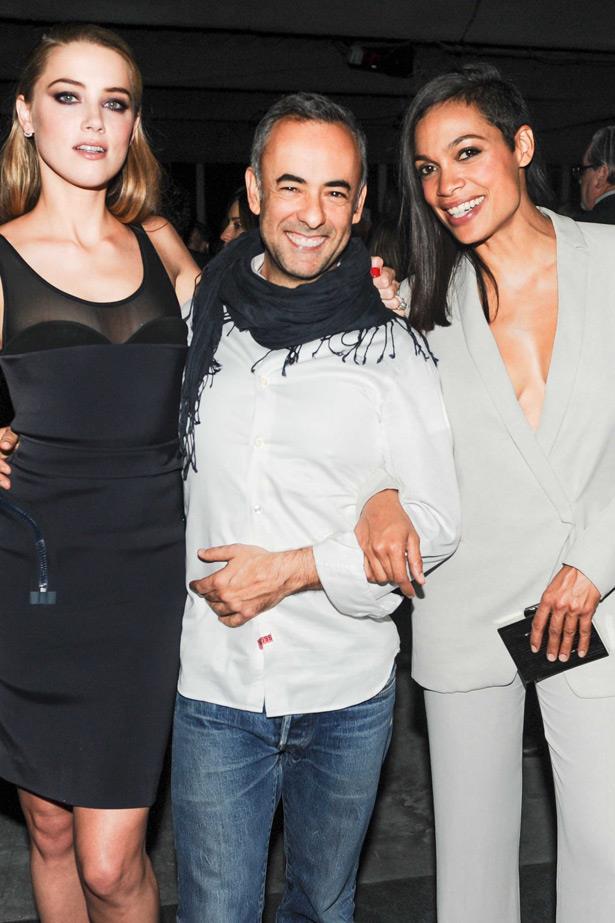 Amber Heard, Francisco Costa and Rosario Dawson