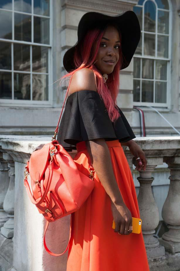 Add a summery touch to an outfit with a wide-brim hat.