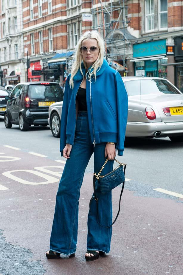 Another 70's flashback outfit at London fashion week.