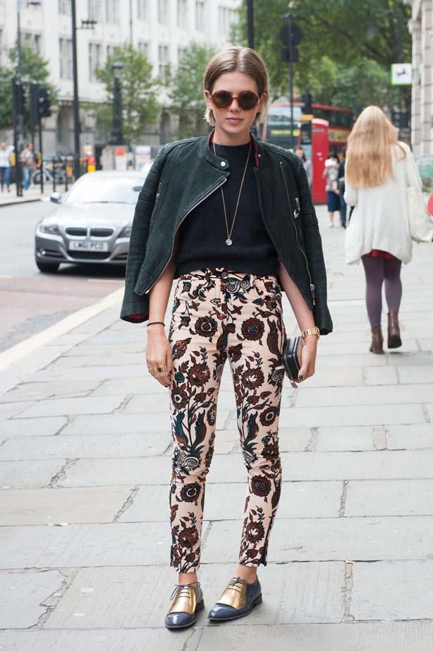 What's better than Céline gold brogues? Céline gold brouges <em>and</em> a Céline leather jacket.