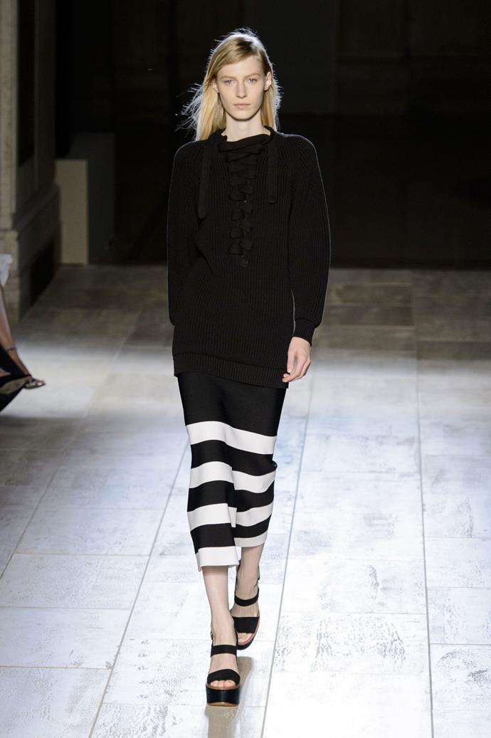 Julia Nobis in Victoria Beckham SS15 runway show at New York Fashion Week
