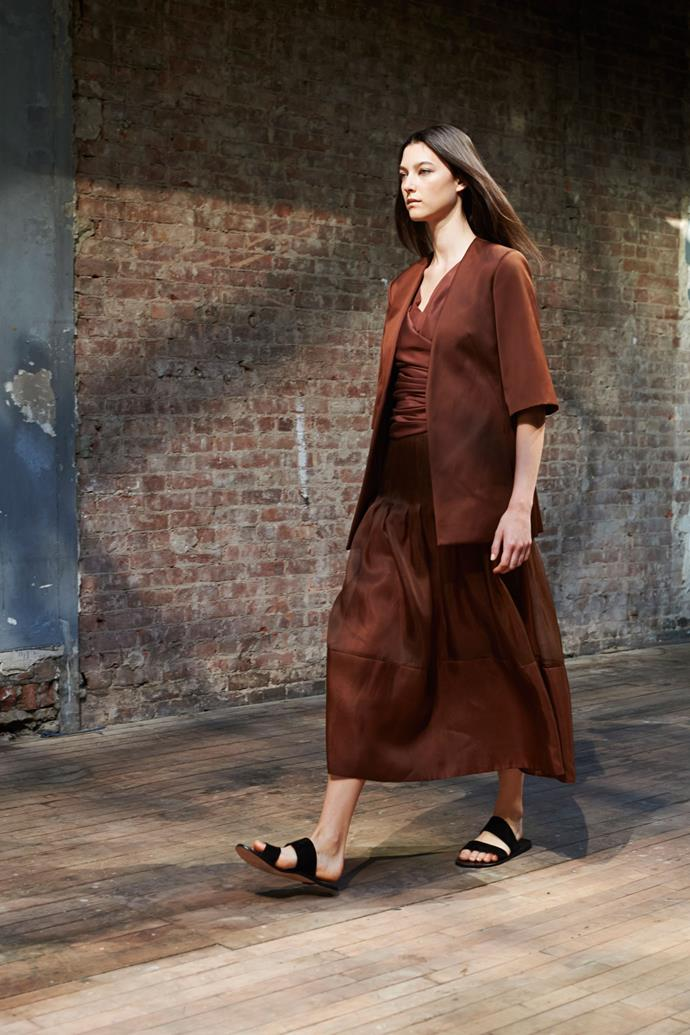 Stephanie Joy Field in The Row SS15 runway show at New York Fashion Week
