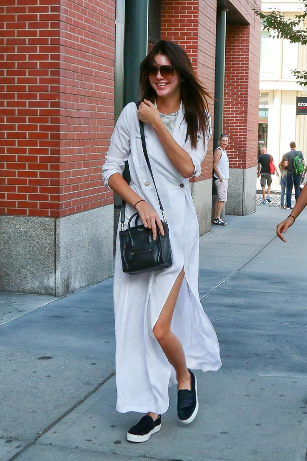 Long and lean: Kendall Jenner dresses down in linen and Celine skate-inspired slip-ons while in New York for fashion week.
