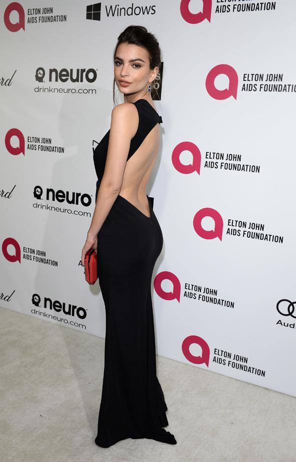 Emily Ratajkowski at the <em>Elton John AIDS Foundation</em>'s Oscar viewing party