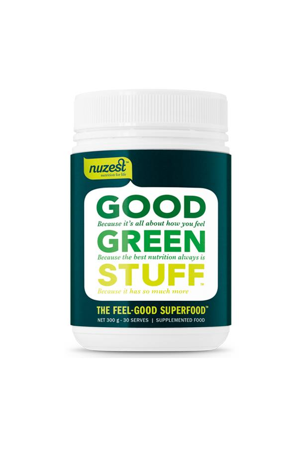 """With over 75 ingredients, including pre and probiotics, I feel smug taking this all natural supplement with water every morning. Honestly? The flavour isn't great, but I do notice a difference in both energy levels and my skin when I drink-up daily."" Alison, digital contributor. Good Green Stuff, $79.95, <a href=""http://www.nuzest.com.au/shop/good-green-stuff-300g"">Nuzest.com.au</a>"
