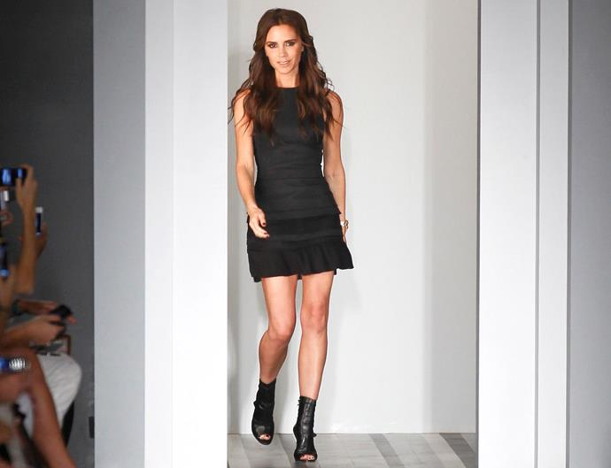 Victoria Beckham on the runway at New York Fashion Week