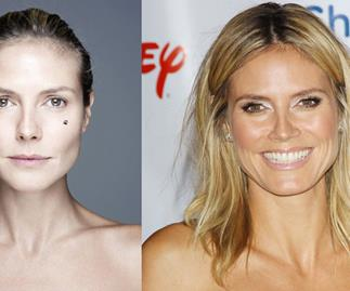 Heidi Klum goes bare faced for charity