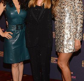 Frida Giannini with Salma Hayek and Beyonce Knowles