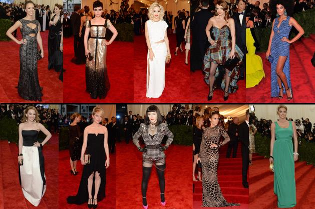 Top line: Jessica Alba and Ginnifer Goodwin in Tory Burch, Rita Ora in Thakoon, Christina Ricci in Vivienne Westwood and Solange Knowles in Kenzo. Bottom line: Kylie Minogue in Moschino, Michelle Williams in Chanel, Madonna in Givenchy, Jennifer Lopez in J. Mendel and Kate Upton in Diane Von Furstenberg.