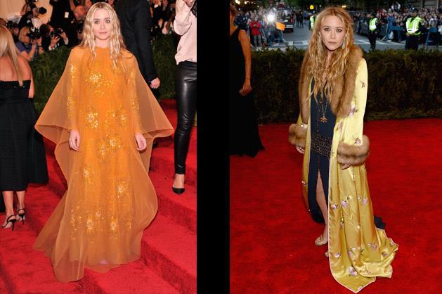 Ashley Olsen in vintage Dior and Mary-Kate Olsen.