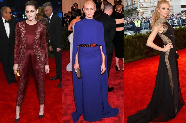 Kristen Stewart in Stella McCartney, Cameron Diaz in Stella McCartney and Taylor Swift in J. Mendel.