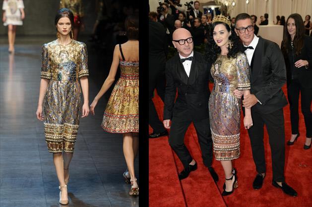 Katy Perry wearing Dolce & Gabbana – photographed with the designers Domenico Dolce and Stefano Gabbana.