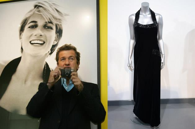 A Catherine Walker dress, worn by Princess Diana for a Mario Testino (pictured left) shoot for <i>Vanity Fair</i> at Kensington Palace in 1997, is up for auction.