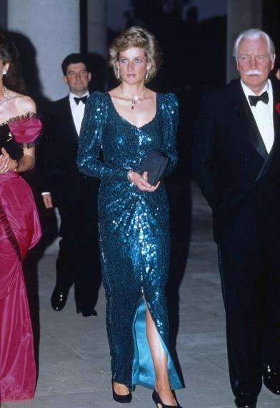 A Catherine Walker dress, worn by Princess Diana during state visit to Austria in 1989, is up for auction.
