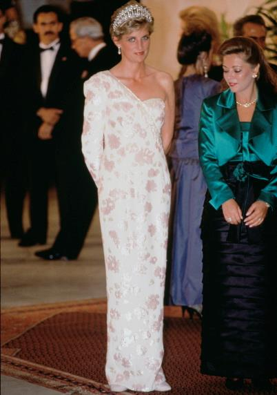 A Catherine Walker dress, worn by Princess Diana during a state visit to Brazil in 1991, is up for auction.