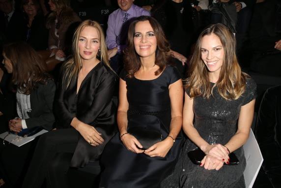 Uma Thurman, Roberta Armani and Hilary Swank at Armani.