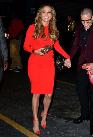 Jennifer Lopez celebrated her birthday in New York in a Tom Ford dress.