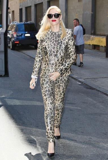 Gwen Stefani wore a Blumarine leopard-print pantsuit on the streets of New York.
