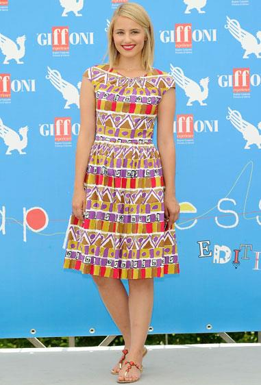 Dianna Agron attended the Giffoni film festival in Italy wearing a Prada dress.