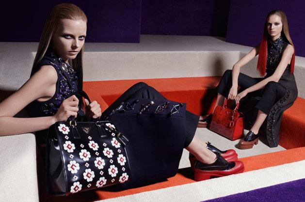 Prada's A/W 12-13 campaign, shot by Steven Meisel and starring look-a-like models Anne V, Elza Luijendijk, Iselin Steiro, Madison Headrick, Magdalena Frackowiak and Vanessa Axente.
