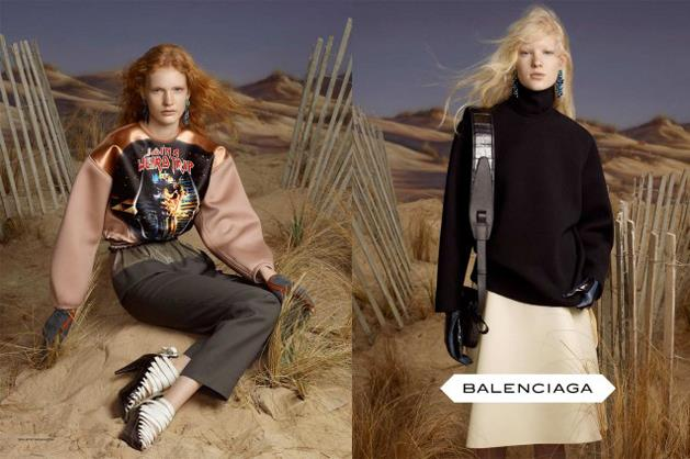 Balenciaga A/W 12-13, shot by Steven Meisel and starring Marton Dorfler, Sophie Hirschfelder, Juliet Ingleby and Julier Bugge.