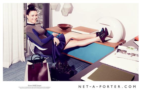 "Blogger Garance Doré is one of the ""real-life"" fashion industry insiders who were chosen to star in Net-a-Porter's campaign. The advertisement was shot by Patrick Demarchelier, and is part of the ecommerce site's broader A/W 12-13 campaign, which also features Amanda de Cadenet and Kate Young."