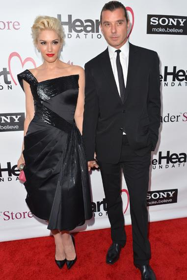 Gwen Stefani, with husband Gavin Rossdale, wore a black Georges Chakra dress for an evening at The Heart Foundation Gal