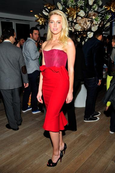 Amber Heard in Zac Posen at the launch of a new television show in New York.