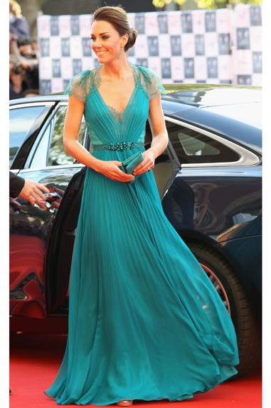 Catherine Duchess of Cambridge in a teal Jenny Packham dress at a gala of Great Britain's Olympic Team at the Royal Albert Hall in London