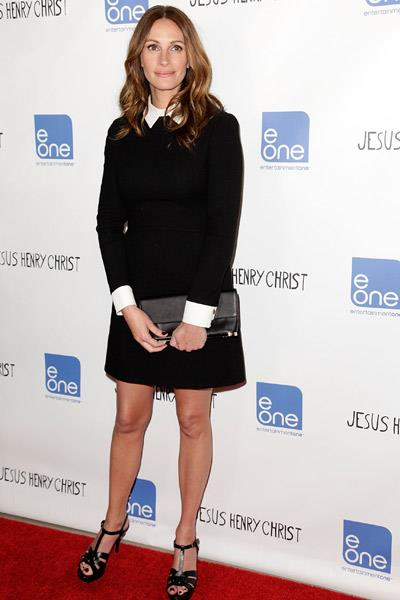 Julia Roberts in a black dress with white collar and cuffs at the LA premiere of Jesus Henry Christ
