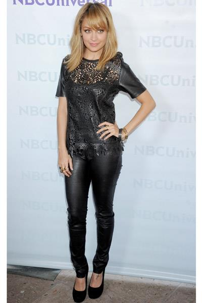 Nicole Richie in a Winter Kate  top and Helmut Lang trousers at the NBC Summer press day