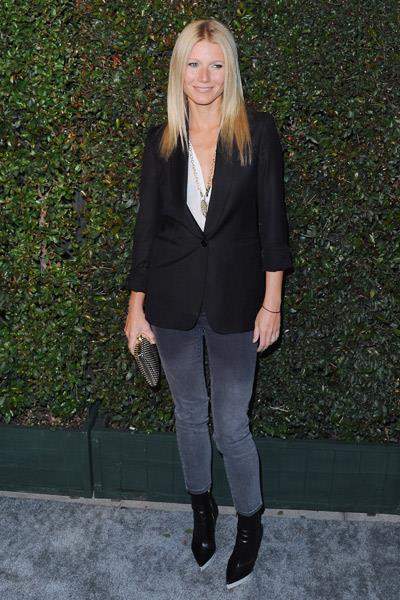 Gwyneth Paltrow wearing a Stella McCartney blazer at Paul McCartney's music video party in London