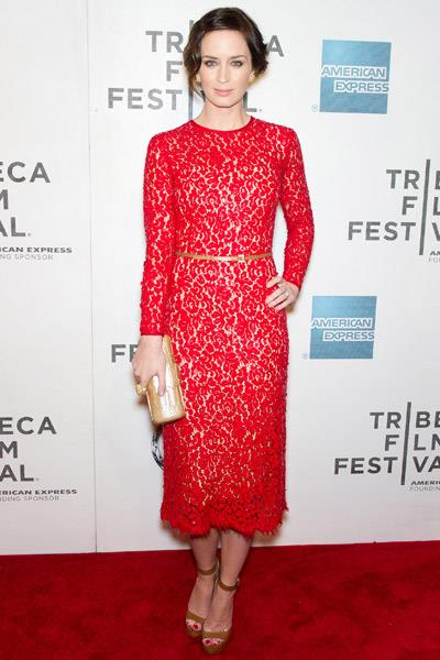 Emily Blunt in Valentino at the Five Year Engagement premiere in New York