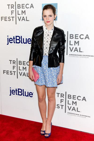 Emma Watson wearing Miu Miu at the Struck By Lightning premiere at the Tribeca Film Festival