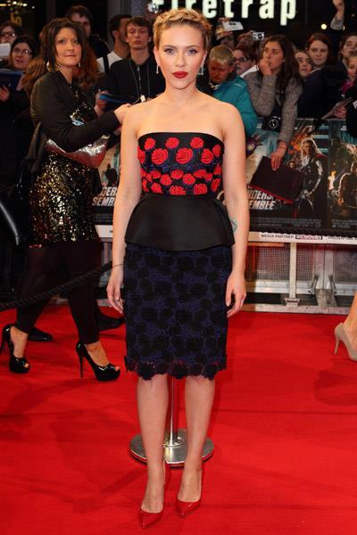 Scarlett Johansson in Prada at The Avengers European premiere