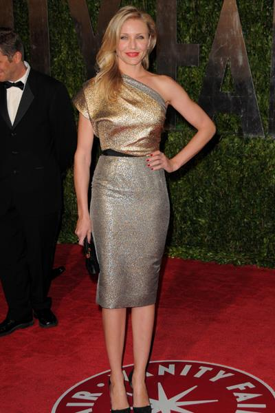 Cameron Diaz wore a metallic VB design to the Vanity Fair Oscars Party in 2010 - and later topped best-dressed lists around the globe.