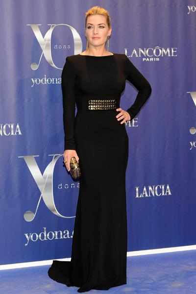 Kate Winslet wore a show-stopping black gown to Madrid's Yo Dona Awards in June 2011.