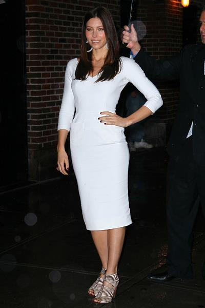 Jessica Biel looked ravishing in a white VB dress on the David Letterman show in December 2011.