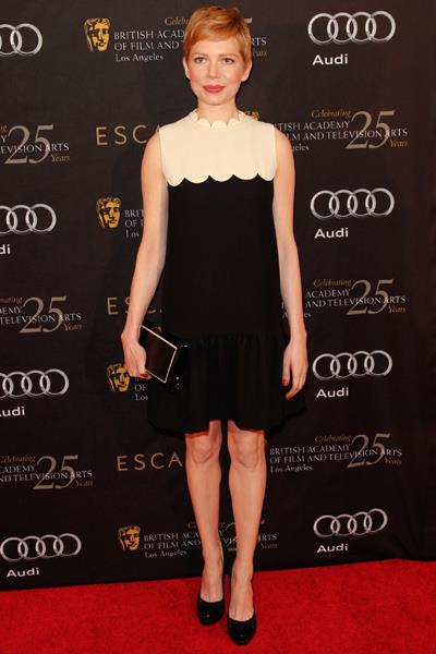 Michelle Williams in a scalloped design at the BAFTA Awards Seasons Tea Party in January.