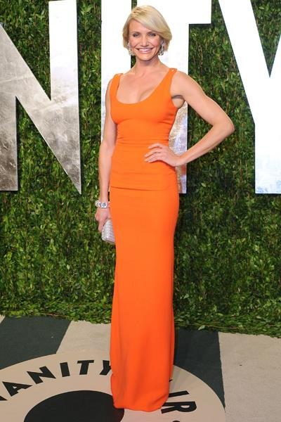 Cameron Diaz wore an orange Victoria Beckham dress to Vanity Fair's Oscar Party in February.