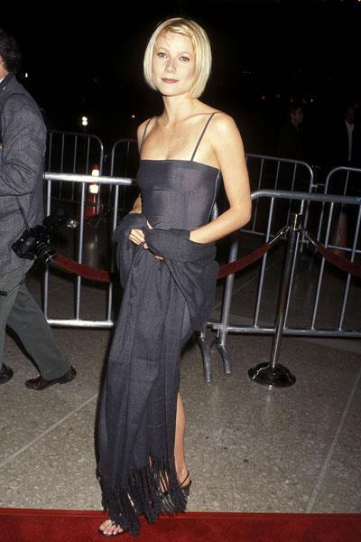 Wearing a simple and sophisticated Donna Karan dress to the premiere of Great Expectations in 1998