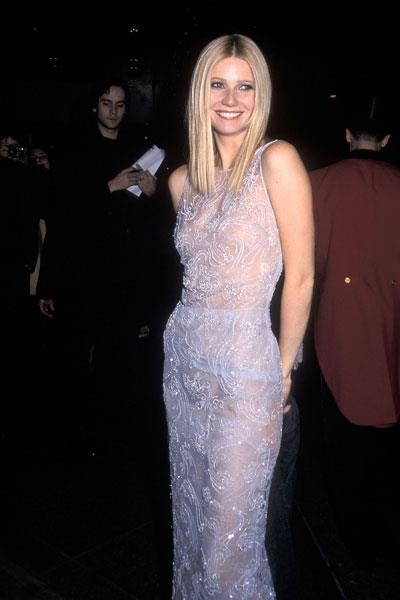 Paltrow selects a risque nearly see-through beaded Giorgio Armani dress for the New York premiere of Shakespeare in Love