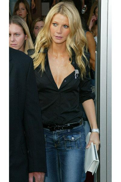 Paltrow is the epitome of chic in Seven for All Mankind jeans at the Calvin Klein show at new York fashion week in 2002