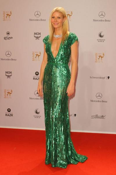 Paltrow turns heads in a green sequin Elie Saab gown at the Bambi Awards in 2011