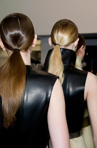 Slick side-part pony: Calvin Klein A/W 2012-2013